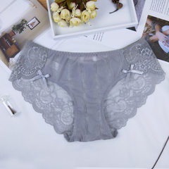 Sexy lace underwear ladies pure color low waist flower edge seamless cotton inside transparent whole gray All code
