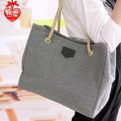 2018 new style canvas big bag Korean style simple shopping bag women`s bag single shoulder handbag khaki