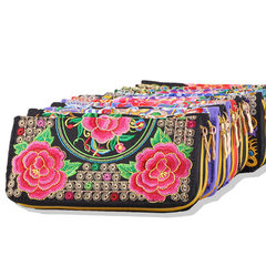 2017 new yunnan ethnic style purse embroidery bag embroidery handbag handbag handbag handbag lady pu Peony butterfly series with random color