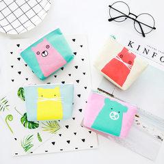 2017韩国风新款极简小动物零钱包卡通男女小钱包 拉链钥匙包订做 绿底粉熊