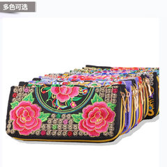 Yunnan ethnic style bag features embroidered purse ladies long zipper wallet multi - card hand bag 9 Cross stitch, random design and color