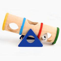 P彩虹跷跷筒 仓鼠荷兰猪运动玩具原木制防滑小宠窝笼子别墅新款 图片色