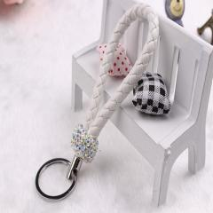 Korean version of creative pure handwork pendant knitting inlay diamond rope lovers car metal key ri white 13 cm