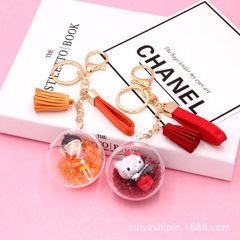 Korea creative cartoon doll automobile pendant rusha doll key ring transparent ball hanging accessor Rose red quicksand ball