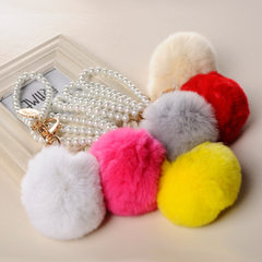 Korean version of creative lovely flowers water diamond car key ring wholesale rex rabbit fur bag ke yellow