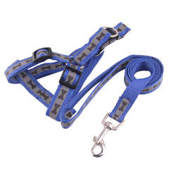 Dog leash dog leash dog leash dog bone print household leash chest back with teddy golden hair walk  blue Width 2.0 cm * 120 cm long
