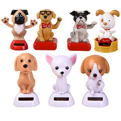 2018 new solar car decoration car accessories cartoon doll creative gifts children toys customized White dog