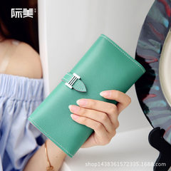 The new women`s purse of jimei 2018 is a Korean version with large capacity fashionable multi-card w red