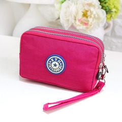 Gift custom three-zipper nylon bag mobile phone pocket change key bag purse to process lady`s hand b purple