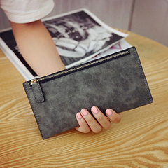 2018 Korean version of the new women hold a zero purse card bag grinded leather purse hot style fema blue
