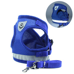 New dog traction rope vest pet chest back belt reflective dog rope pet products manufacturers direct blue s.