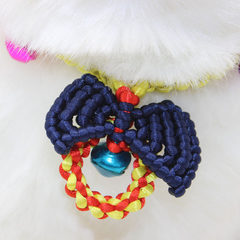 New pet products hand-woven traction rope cat collar small dog bow-tied bell woven collar blue The maximum tensile range is 50CM and the minimum is 20CM