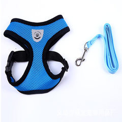 Pet supplies source manufacturers spot direct selling dog traction belt vest - type mesh reflective  blue L yards