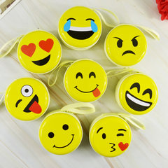 Promotional gift smiley face cartoon tinplate zero wallet personalized earphone bag zipper small bag Facial expression series random mix hair