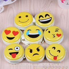Smiley face zero wallet fashion round children`s purse earphone coin small purse tinplate zero purse 1
