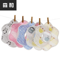 Class A petal bib 360 degrees rotary bib pure cotton six-layer gauze double button mother-infant pro The mouse