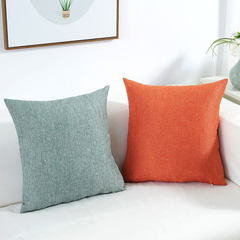 Wholesale flax pure color big hug pillow cushion for leaning on cover sofa cotton and linen back off Pale blue 45 * 45 cm