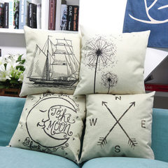 Geometric cotton and hemp sketch style with pillowcase light rosewood sofa and zuodian waist cushion 8007 a core 45 * 45 cm