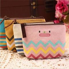 New Korean canvas stationery lovely smiling face design zero purse key bag fragmentary bag mobile ph yellow