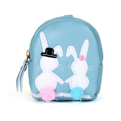 3 rabbit pattern cartoon circular key ring zero wallet ladies easy to carry zero wallet wholesale khaki