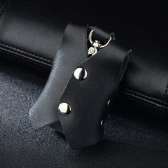 Korean version of the new small waistcoat key package leather waist hanging household key bag practi black