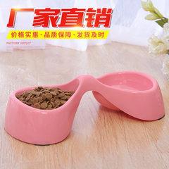 促销 环保食品级塑料骨头型双碗宠物碗 狗碗  狗狗猫咪食具食盆 粉色