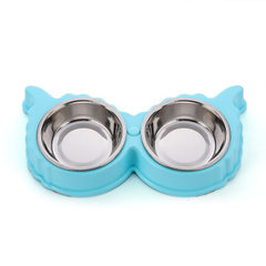 Pet food dog bowl stainless steel thickening anti-skid double bowl dog food bowl cat bowl dinner bow green