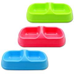 方双碗小号 联体宠物碗 塑料狗碗 储粮桶食盆防滑防溢环保饮水器 颜色随机