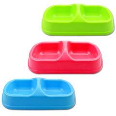 方双碗小号 联体宠物碗塑料狗碗防滑防溢环保饮水器狗食盆批发 随机
