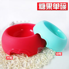 Candy single bowl number of dog food plastic drinking bowl of dog food bowl high-grade resin environ red