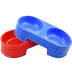 圆双碗大号 狗食具批发 塑料喝水碗 狗粮碗 高档树脂环保 厂家直 颜色随机