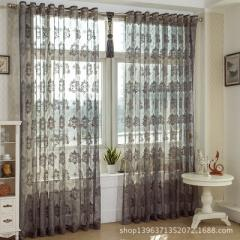 Jacquard gauze curtain hollow-out lace breathable curtain balcony bedroom living room window screen  B - 17 deep coffee