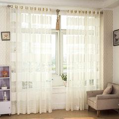 厂家直销白色横条环保窗帘透气透光卧室阳台客厅书房橱窗窗纱定制 米白色