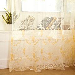 提花窗帘窗纱 镂空透气透光卧室阳台客厅书房橱窗装饰 定制直销 A166米黄色