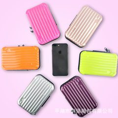 Manufacturer`s direct selling customized ABS+ PC fashionable hand bag hard shell ladies make up wash Custom silver