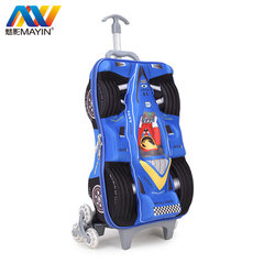 Manufacturer wholesales 17 inch elementary school student pull rod box three wheel reduce children 3 17-inch tie rod box f-red 17