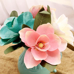 Large single wood and cotton imitation flowers in a photo setting bottle with artificial flowers pla white
