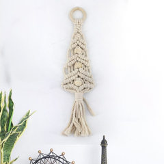 壁饰棉线软装编制挂件 波西米亚挂毯流苏 床头背景小挂件MS7176 米色 35cm