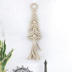 Wall decorative cotton thread soft decoration woven pendant Bohemian tapestries tassel head of bed b beige 35 cm