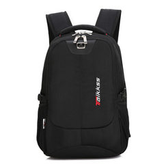 Double shoulder bag men`s business computer bag high school students backpack large capacity travel  black 15.6 inches
