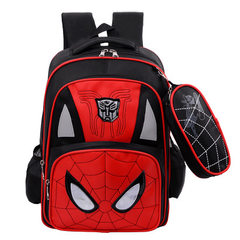 New large capacity schoolbag cartoon spider man double shoulder backpack with a custom-made logo in  red