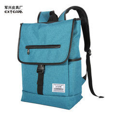 Schoolbag men`s fashion trend high school student travel bag Korean Oxford cloth backpack men`s back cyan