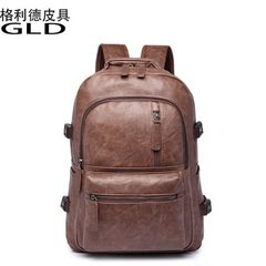 Spot 2018 manufacturer Korean version men backpack PU backpack men`s computer bag students backpack  black 16 inches