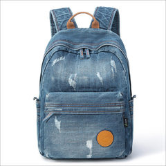 Cross-border exclusively for the new jeans backpack with a wide range of stylish backpack large capa blue