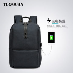 Tuguan canvas student backpack Korean version of college style backpack USB backpack men and women n Light grey 22 inch