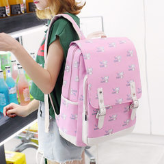 Canvas backpack junior middle school students backpack 4-6 grade female Korean version of cute littl Pink cat
