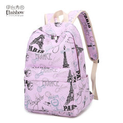 Factory wholesale schoolboy schoolbag female Korean version canvas backpack leisure print backpack j The Burgundy canvas tower