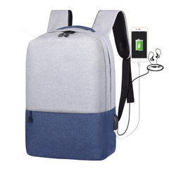 2018 new student backpack men`s solid color Oxford cloth backpack cross-border leisure outdoor backp Earphone USB gray with black