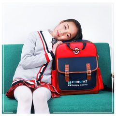 British style kindergarten schoolbag 1-4-6 grade boys and girls 4-14 years of age customized logo pr Red is large.