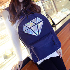 Spring and summer 2018 new Korean version of EXO diamond laser backpack for female middle school stu purple